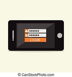 Login form illustration. Flat design. Login form on mobile phone screen illustration concept.