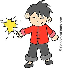Chinese character of boy with fireworks