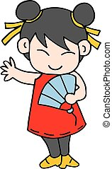 Illustration of girl character Chinese