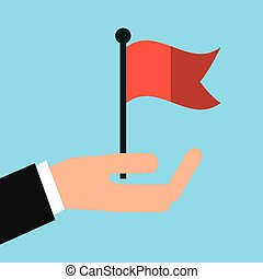 hand with red flag icon over blue background. colorful...