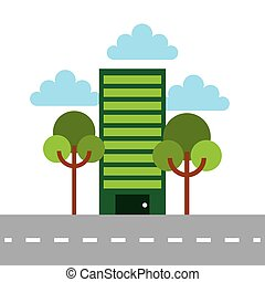 green building and trees over white background. colorful...