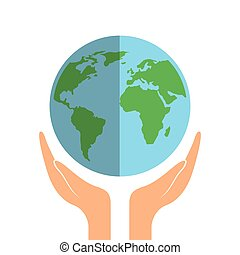 earth planet icon - hands with earth planet icon over white...