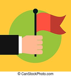 hand with red flag icon over green circle and yellow...