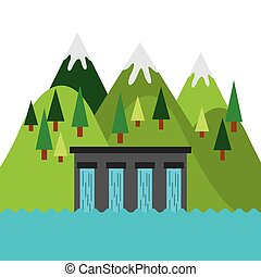 water dam icon - water dam and mountains landscape. colorful...