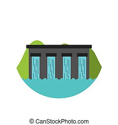 water dam icon over white background. colorful design....