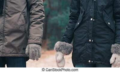 The couple take and hold hands on woody background.