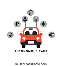 Autonomous car design - autonomous car with smart icons...