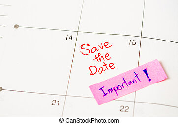 Save the date with Important sticky note..