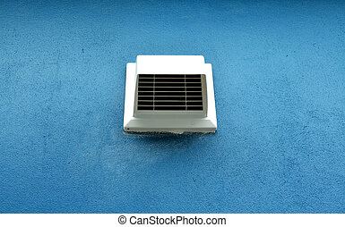 White ventilation window vent on blue wall - White...