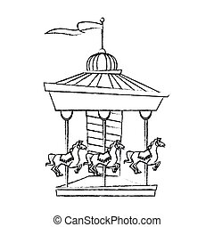 Isolated canival carousel design - Carousel icon. Carnival...