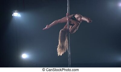 Beautiful blonde woman in pole dance edit cut