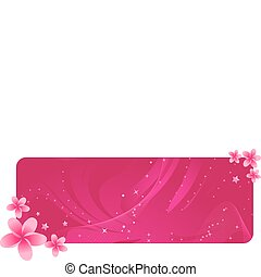 Banner with tropical flowers - Pretty pink banner with...