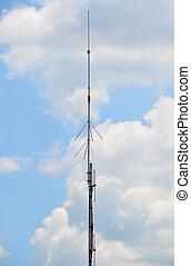 Lightning rod conductor over hazy sky