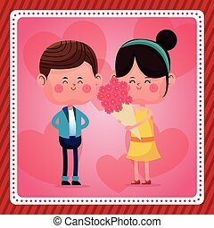 boy and girl bouquet flowers pink hearts background