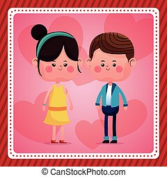 couple together smile pink hearts background