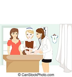 Baby at doctor office - Vector illustration of a doctor...