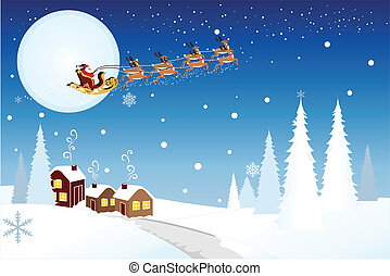 Santa riding sleigh with reindeers - Vector illustration of...
