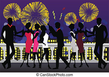 New Year Party Celebration - Vector illustration of a new...