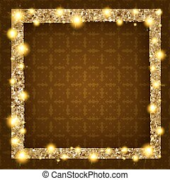 square gold frame with lights on a dark background