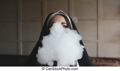 bad nun smoking a cigarette - bad nun blows smoke in church