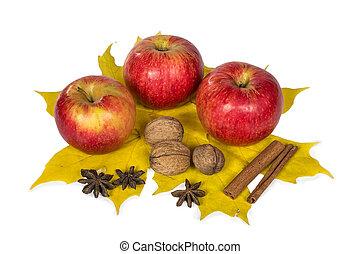 離開, 堅果, 秋天, 蘋果, 香料, 楓樹