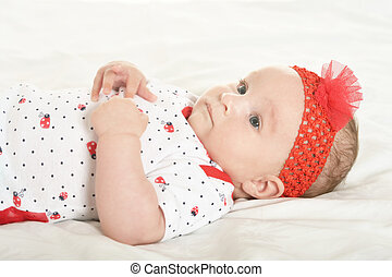 Baby girl in cute clothes - Adorable baby girl in cute...