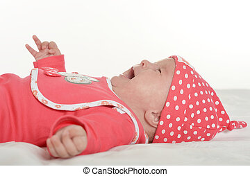 Adorable baby girl crying