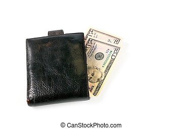 paper money dollar - leather wallet with a small amount of...