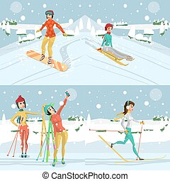 Women ride a mountain on a snowboard and skiing on a snowy day. Winter sports vacation concept. Flat cartoon vector illustration