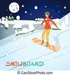 Winter card background. Woman snowboarding in mountains in the evening. Flat cartoon vector illustration