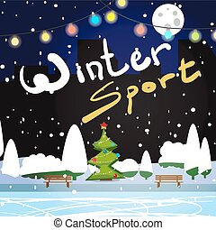 Winter card background. Night skating rink in the city on...
