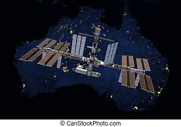 International Space Station over Australia. Elements of this...