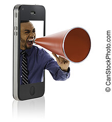 Man yelling in megaphone - Businessman yelling in a red...