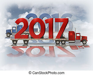 2017 and 2016 On Flatbed Trucks - 3D Illustration - 3D...