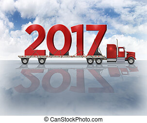 2017 On Flatbed Truck - 3D Illustration - 3D illustration of...