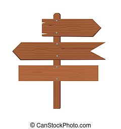 Wooden plates arrows and an index of direction. Flat vector