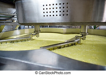 Process of mixing at dairy production line - Automatic...