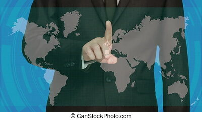 Hand touch virtual icon of social network. Larger image. World map