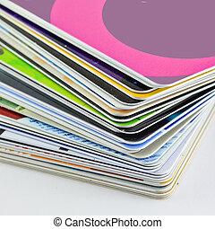 tarjetas, utilizado, Pila, diario, base