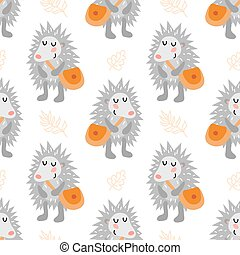 Seamless pattern with hedgehog - Seamless pattern with cute...