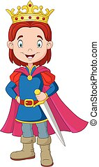 Cartoon boy wearing prince costume - Vector illustration of...