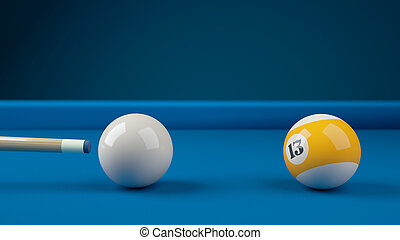 Hitting the cue ball number 13 on a blue billiard ball....
