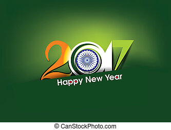 Happy new year 2017 text in indian flag style vector...