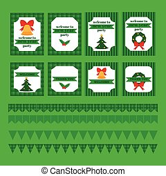 Printable set of Christmas and New Year party elements....