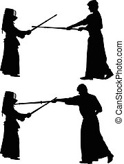 kendo japanese sport silhouette vector
