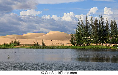 Lake and white dunes - Beautiful landscape with lake and...
