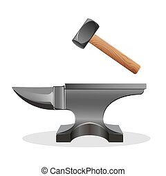 Anvil icon with hammer isolated on white. Block hard surface...