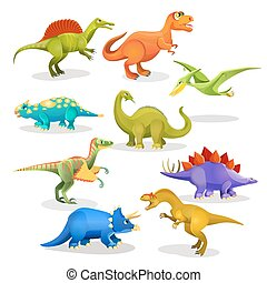 Collection of prehistoric dinosaur habitants. Vector -...
