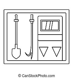 Fire extinguishing equipment icon, outline style - Fire...