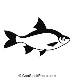 River fish icon, simple style - River fish icon. Simple...